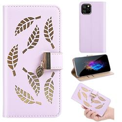 Hollow Leaves Phone Wallet Case for iPhone 11 Pro (5.8 inch) - Purple