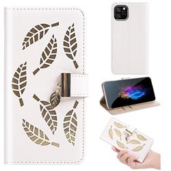 Hollow Leaves Phone Wallet Case for iPhone 11 Pro (5.8 inch) - Creamy White