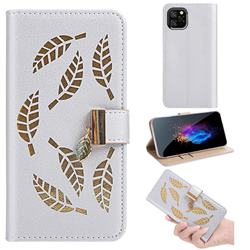 Hollow Leaves Phone Wallet Case for iPhone 11 Pro (5.8 inch) - Silver