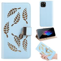 Hollow Leaves Phone Wallet Case for iPhone 11 Pro (5.8 inch) - Blue