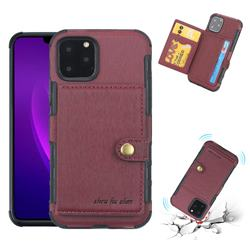 Brush Multi-function Leather Phone Case for iPhone 11 Pro (5.8 inch) - Wine Red