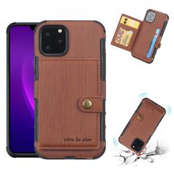 Brush Multi-function Leather Phone Case for iPhone 11 Pro (5.8 inch) - Brown