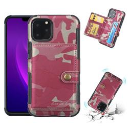 Camouflage Multi-function Leather Phone Case for iPhone 11 Pro (5.8 inch) - Rose