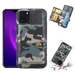 Camouflage Multi-function Leather Phone Case for iPhone 11 Pro (5.8 inch) - Army Green