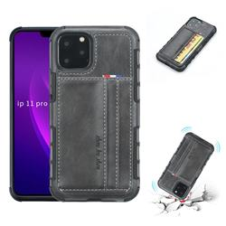 Luxury Shatter-resistant Leather Coated Card Phone Case for iPhone 11 Pro (5.8 inch) - Gray