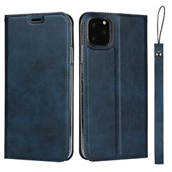Calf Pattern Magnetic Automatic Suction Leather Wallet Case for iPhone 11 Pro (5.8 inch) - Blue