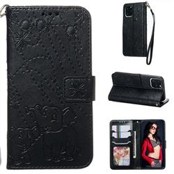 Embossing Fireworks Elephant Leather Wallet Case for iPhone 11 Pro (5.8 inch) - Black