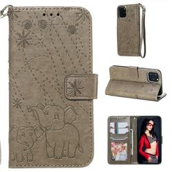Embossing Fireworks Elephant Leather Wallet Case for iPhone 11 Pro (5.8 inch) - Gray