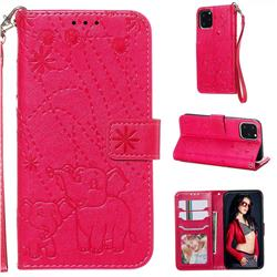 Embossing Fireworks Elephant Leather Wallet Case for iPhone 11 Pro (5.8 inch) - Red
