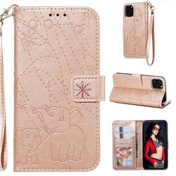 Embossing Fireworks Elephant Leather Wallet Case for iPhone 11 Pro (5.8 inch) - Rose Gold