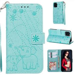 Embossing Fireworks Elephant Leather Wallet Case for iPhone 11 Pro (5.8 inch) - Green