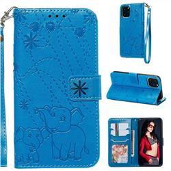 Embossing Fireworks Elephant Leather Wallet Case for iPhone 11 Pro (5.8 inch) - Blue