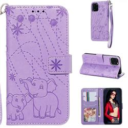 Embossing Fireworks Elephant Leather Wallet Case for iPhone 11 Pro (5.8 inch) - Purple