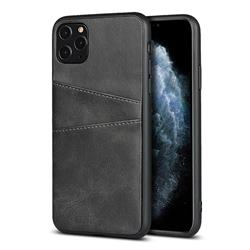 Simple Calf Card Slots Mobile Phone Back Cover for iPhone 11 Pro (5.8 inch) - Black