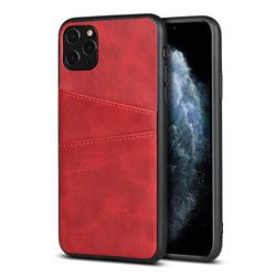 Simple Calf Card Slots Mobile Phone Back Cover for iPhone 11 Pro (5.8 inch) - Red