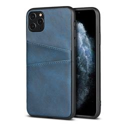 Simple Calf Card Slots Mobile Phone Back Cover for iPhone 11 Pro (5.8 inch) - Blue