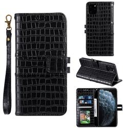 Luxury Crocodile Magnetic Leather Wallet Phone Case for iPhone 11 Pro (5.8 inch) - Black