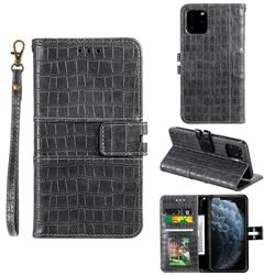Luxury Crocodile Magnetic Leather Wallet Phone Case for iPhone 11 Pro (5.8 inch) - Gray