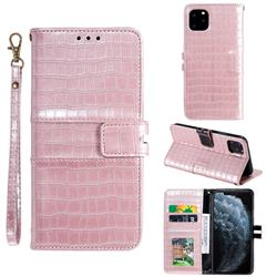Luxury Crocodile Magnetic Leather Wallet Phone Case for iPhone 11 Pro (5.8 inch) - Rose Gold