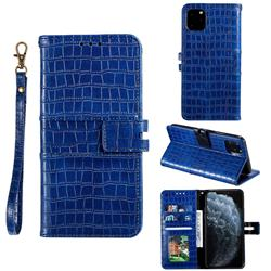 Luxury Crocodile Magnetic Leather Wallet Phone Case for iPhone 11 Pro (5.8 inch) - Blue