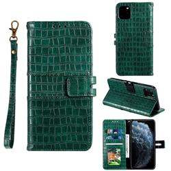 Luxury Crocodile Magnetic Leather Wallet Phone Case for iPhone 11 Pro (5.8 inch) - Green