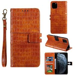 Luxury Crocodile Magnetic Leather Wallet Phone Case for iPhone 11 Pro (5.8 inch) - Brown