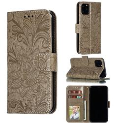 Intricate Embossing Lace Jasmine Flower Leather Wallet Case for iPhone 11 Pro (5.8 inch) - Gray
