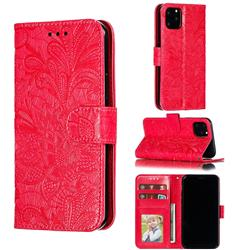 Intricate Embossing Lace Jasmine Flower Leather Wallet Case for iPhone 11 Pro (5.8 inch) - Red