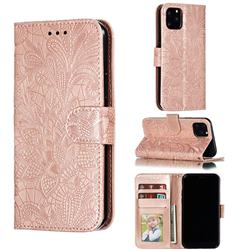 Intricate Embossing Lace Jasmine Flower Leather Wallet Case for iPhone 11 Pro (5.8 inch) - Rose Gold