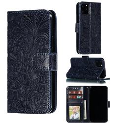 Intricate Embossing Lace Jasmine Flower Leather Wallet Case for iPhone 11 Pro (5.8 inch) - Dark Blue