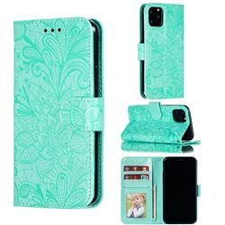 Intricate Embossing Lace Jasmine Flower Leather Wallet Case for iPhone 11 Pro (5.8 inch) - Green