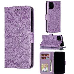Intricate Embossing Lace Jasmine Flower Leather Wallet Case for iPhone 11 Pro (5.8 inch) - Purple