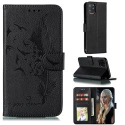 Intricate Embossing Lychee Feather Bird Leather Wallet Case for iPhone 11 Pro (5.8 inch) - Black