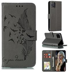 Intricate Embossing Lychee Feather Bird Leather Wallet Case for iPhone 11 Pro (5.8 inch) - Gray