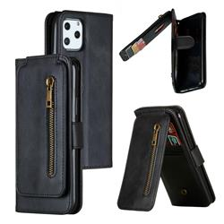 Multifunction 9 Cards Leather Zipper Wallet Phone Case for iPhone 11 Pro (5.8 inch) - Black