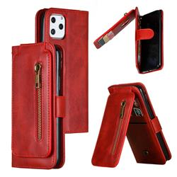 Multifunction 9 Cards Leather Zipper Wallet Phone Case for iPhone 11 Pro (5.8 inch) - Red