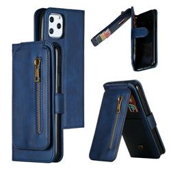 Multifunction 9 Cards Leather Zipper Wallet Phone Case for iPhone 11 Pro (5.8 inch) - Blue