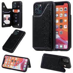 Yikatu Luxury Cute Cats Multifunction Magnetic Card Slots Stand Leather Back Cover for iPhone 11 Pro (5.8 inch) - Black