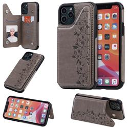 Yikatu Luxury Cute Cats Multifunction Magnetic Card Slots Stand Leather Back Cover for iPhone 11 Pro (5.8 inch) - Gray