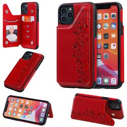 Yikatu Luxury Cute Cats Multifunction Magnetic Card Slots Stand Leather Back Cover for iPhone 11 Pro (5.8 inch) - Red