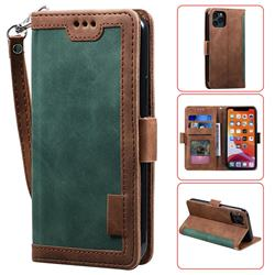 Luxury Retro Stitching Leather Wallet Phone Case for iPhone 11 Pro (5.8 inch) - Dark Green