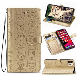 Embossing Dog Paw Kitten and Puppy Leather Wallet Case for iPhone 11 Pro (5.8 inch) - Champagne Gold