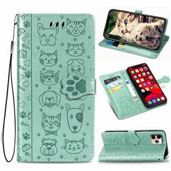 Embossing Dog Paw Kitten and Puppy Leather Wallet Case for iPhone 11 Pro (5.8 inch) - Green
