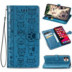 Embossing Dog Paw Kitten and Puppy Leather Wallet Case for iPhone 11 Pro (5.8 inch) - Blue