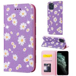 Ultra Slim Daisy Sparkle Glitter Powder Magnetic Leather Wallet Case for iPhone 11 Pro (5.8 inch) - Purple
