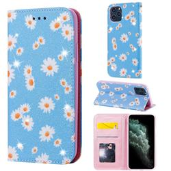 Ultra Slim Daisy Sparkle Glitter Powder Magnetic Leather Wallet Case for iPhone 11 Pro (5.8 inch) - Blue