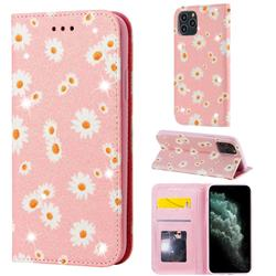 Ultra Slim Daisy Sparkle Glitter Powder Magnetic Leather Wallet Case for iPhone 11 Pro (5.8 inch) - Pink