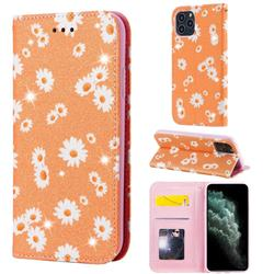 Ultra Slim Daisy Sparkle Glitter Powder Magnetic Leather Wallet Case for iPhone 11 Pro (5.8 inch) - Orange