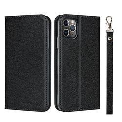 Ultra Slim Magnetic Automatic Suction Silk Lanyard Leather Flip Cover for iPhone 11 Pro (5.8 inch) - Black