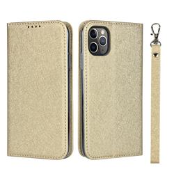Ultra Slim Magnetic Automatic Suction Silk Lanyard Leather Flip Cover for iPhone 11 Pro (5.8 inch) - Golden